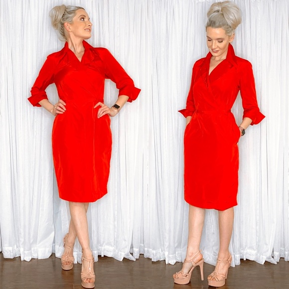 Lands' End Dresses & Skirts - Delta Red Classy Long Sleeve Cocktail Dress